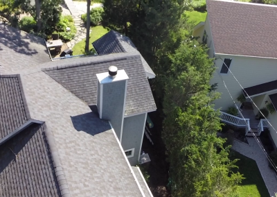 Drone descending over the roof